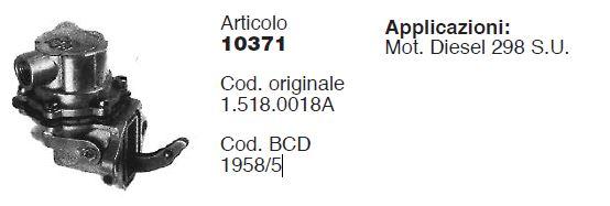 Pompe Alimentation VM298 VM298S.U (CERMAG 10371 - BCD 1958/5 - VM15180018A)