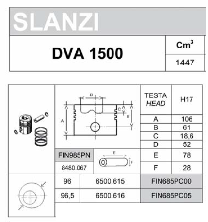 Piston complet DVA1500 SLANZI (Alesage Ø96.00mm 6500615 / FIN685PC00 ou Ø96.50mm 6500616 / FIN685PC05)