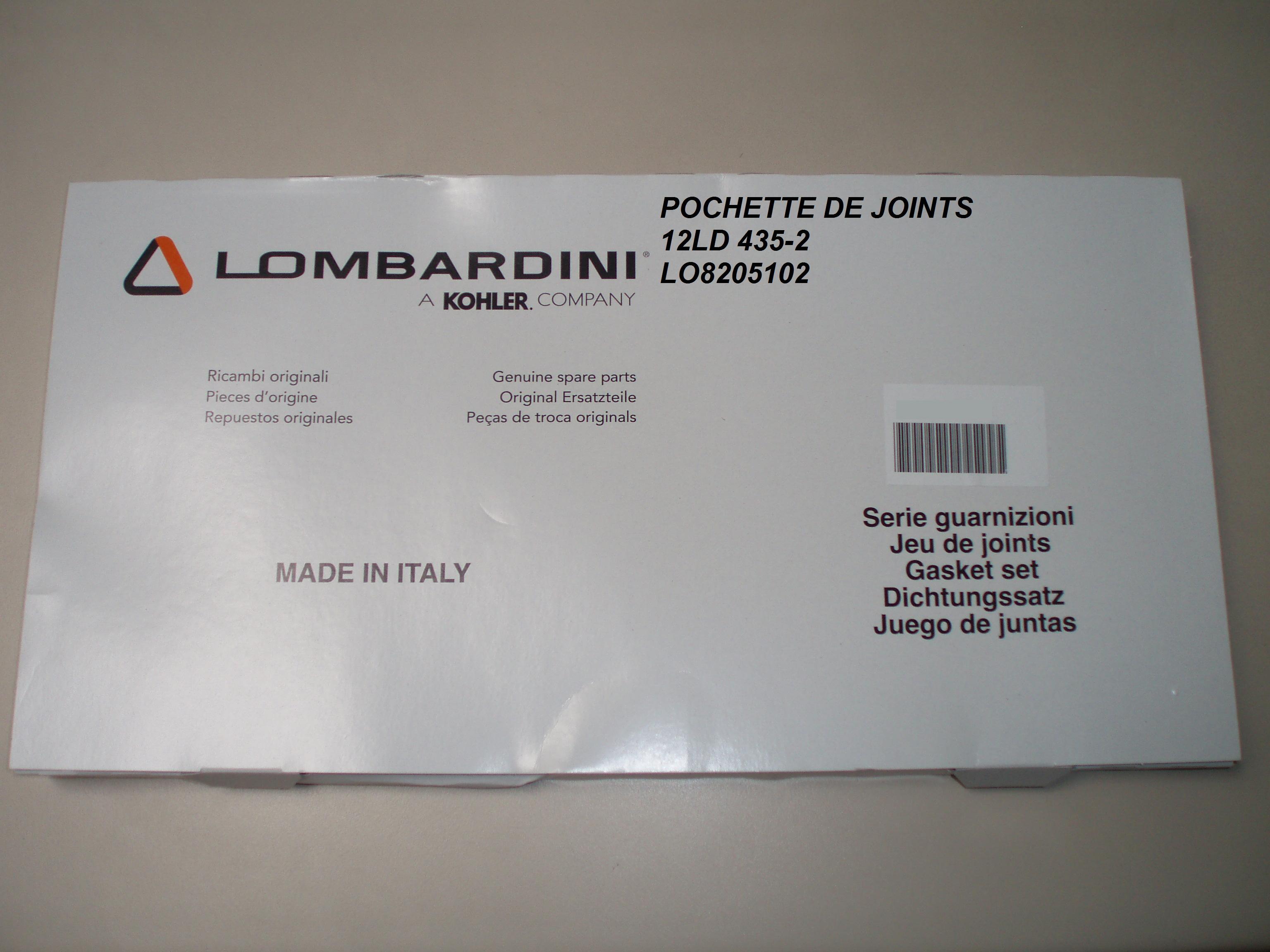 Pochette Joints 12LD435-2 10LD360-2 10LD400-2 LOMBARDINI 8205102 KOHLER ED0082051020-S