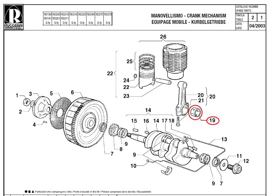 Coussinet bielle RD180 RD200 RD210 RD218 RD220 RD240 RD270 RD278 RD952 MD300 MD350 RUGGERINI 11LD522-3 12LD477-2 LOMBARDINI AD108 AD110 AD112 AD114 AD116 ACME [A26R038]