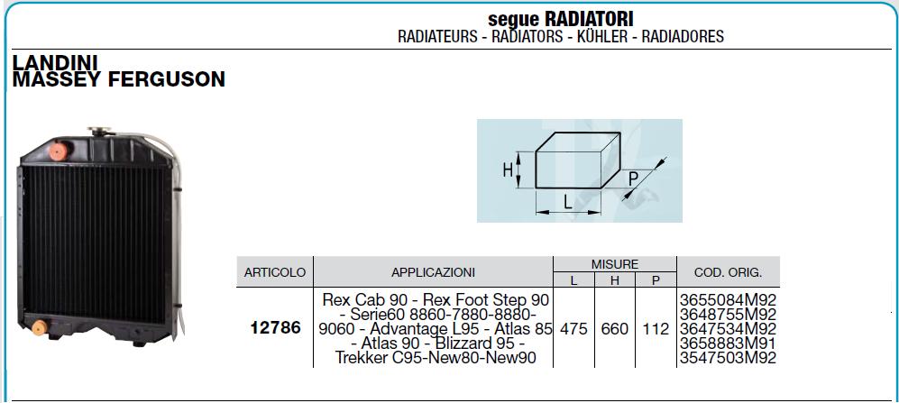 Radiateur CERMAG 12786 / LANDINI MASSEY FERUSON Rex Cab 90 Rex Foot Step 90 Serie60 8860-7880-8880- 9060 Advantage L95 Atlas 85 Atlas 90 Blizzard 95 Trekker C95 New80-New90