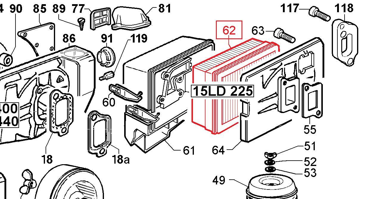 Filtre à Air 15LD225 LOMBARDINI KD225 KOHLER AD230 ACME Motori - 2175180 ED0021751800-S