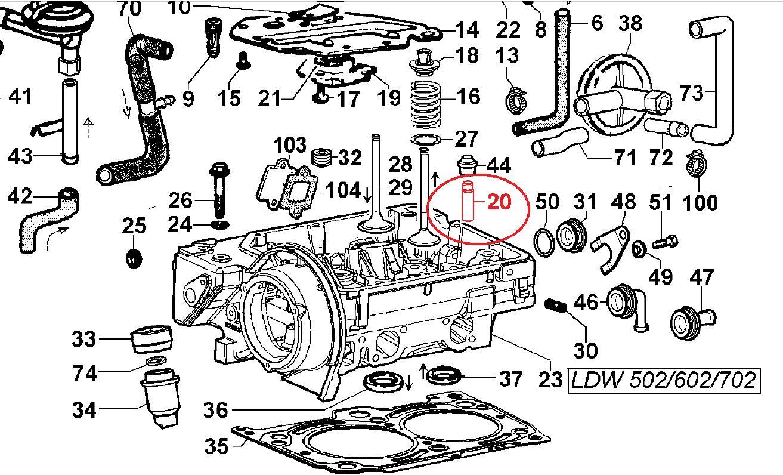 Guide soupape LDW502 LDW602 LDW702 LDW903 LDW1003 LDW1204 LDW1204/T LDW1404 - FOCS LGW523 LGW627 LOMBARDINI 4845200 ED0048452000-S