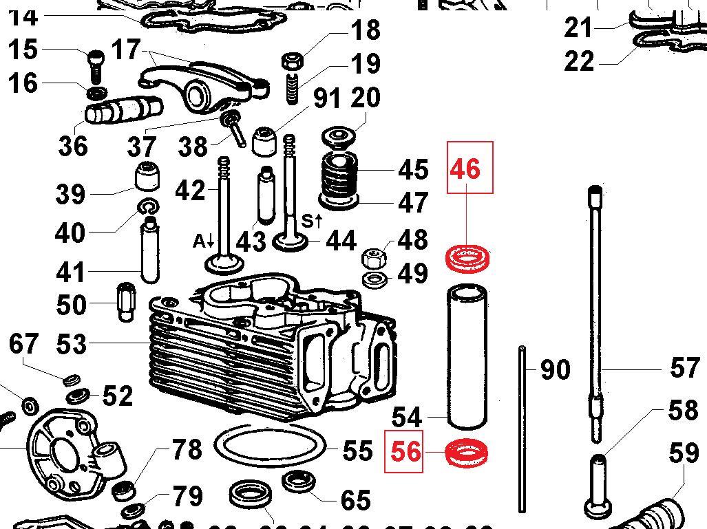 Joint tube 9LD561-2 9LD625-2 9LD626-2  10LD400-2 LOMBARDINI (Inférieur / Suppérieur) ED0047400240-S / 4740024