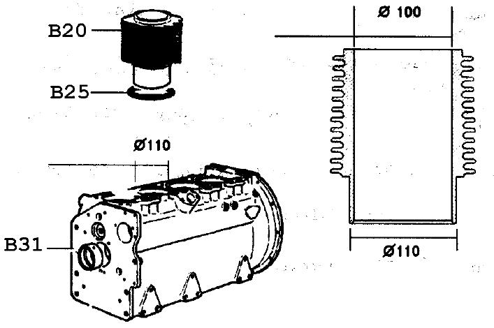 Kit cylindre + piston 832 833 833 834 5ld825-2 5ld825-3